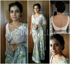 Kajol looked beautiful in a printed Shehla Khan saree which had a pearl border. A Malaga clutch, drop earrings.