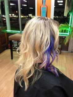 blonde highlights with a purple and blue piece