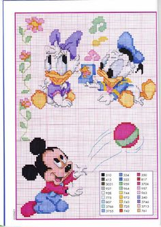 Baby pluto with mickey and goofy cross stitch pattern 421 for Punto croce bambini disney