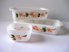 Vintage Fire King Peach Blossom baking dishes. $26.00, via Etsy.
