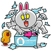 Sticker LINE MART Let's Shop! 100 coins - http://www.line-stickers.com/line-mart-lets-shop/