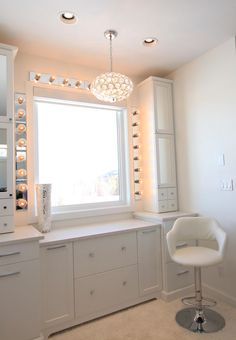 Amazing white makeup vanity.
