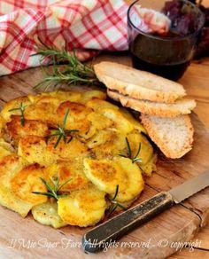Frittata di patate senza uova ricetta calabrese di .Croccante,dorata e gustosa ideale per chi è intollerante alle uova.Ricetta vegana con patate