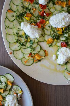 Zucchini Carpaccio by Honestly Yum Carpaccio Recipe, Yummy Food, Tasty, Cooking Recipes, Healthy Recipes, Vegetable Dishes, Appetizer Recipes, Appetizers, I Love Food
