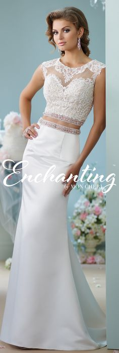 Enchanting by Mon Cheri 116131 - Two-piece satin dress set, illusion jewel neck over lace sweetheart cropped top with cap sleeves, illusion back, and hand-beaded band at bottom, high waist satin trumpet skirt with beaded waistband and chapel length train. 2016 Wedding Dresses, Wedding Dress Sizes, Bridal Outfits, Bridal Dresses, Mon Cheri, Bridal Separates, Braut Make-up, Beautiful Wedding Gowns, Prom