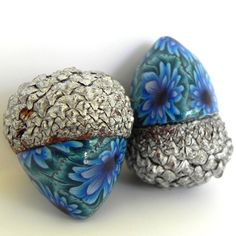 acorn decorating | Acorn Decorations - Acorn Pair in Teal Aqua and Blue with Silver Caps ...