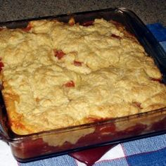 """Tomato Cobbler. Lovely idea for summer & can be cooked on the Big Green Egg. My """"Early Girl"""" tomatoes are in the ground. This will be my first recipe with homegrowns...if I can keep bottom rot at bay."""