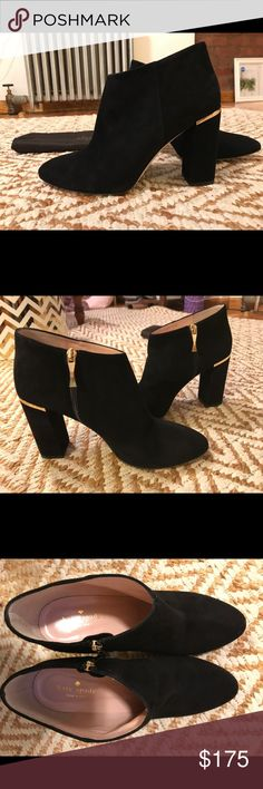 Kate spade Darota bootie, black suede, size 10 Kate spade Darota boot, black suede, size 10. Never been worn. Brand new. A slim metal bar brings subtle shine to these Kate spade New York booties. Side zip. Covered hell. Rubber patch at leather sole. kate spade Shoes Ankle Boots & Booties