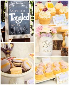 Tangled themed birthday party with So Many Cute Ideas via Kara's Party Ideas | Cake, decor, cupcakes, games and more! KarasPartyIdeas.com #t...
