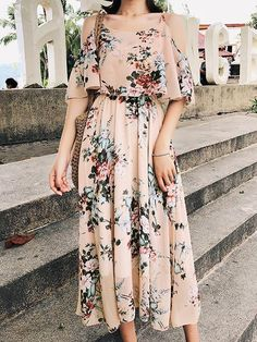 Floral off-shoulder spaghetti straps high-waist chiffon maxi dress Source by Gosuperlady Dresses Simple Dresses, Cute Dresses, Casual Dresses, Fashion Dresses, Summer Dresses, Maxi Dresses, Awesome Dresses, Summer Maxi, Winter Maxi