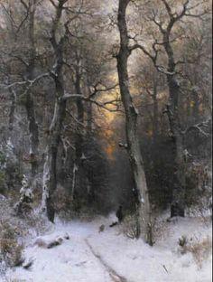 Sophus Jacobsen (1833-1912) - Sunset in the Forest, 1878
