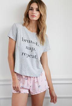 Brunch Graphic PJ Set | Forever 21 - 2000183892