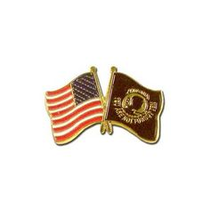 """US and POW MIA Lapel Pin by US Flag Store. $1.59. Low Cost Shipping Available!. Approx 3/4"""" x 1/2"""". Baked Enamel Finish. Gold Metal Lacquered Design and Clutch Pin. Double Flag Lapel Pin (USA & POW/MIA). The US and POW/MIA Flag Lapel Pin features a 50-star American Flag and a POW/MIA Flag. This patriotic emblem shows support of the United States and also of POW/MIAs."""