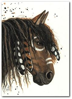 Majestic Mustang Horse Feathers Paint Native American 47 BiHrLe Le Print ACEO | eBay