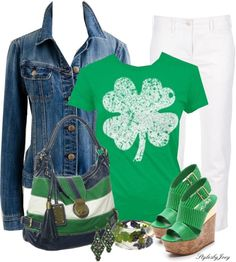 """""""Lucky Clover"""" by stylesbyjoey on Polyvor Holiday Outfits, Summer Outfits, Cute Outfits, St Patrick's Day Outfit, Outfit Of The Day, Denim And Supply, Polyvore Outfits, Summer Looks, Passion For Fashion"""