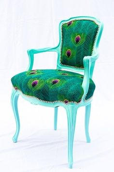 Antique Aqua Chair with Peacock Feather Print Upholstery