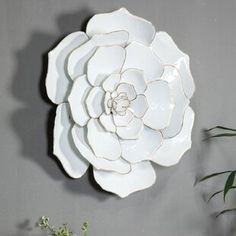 Rosdorf Park This wall décor is a stunning metal wallflower in a lovely white with gold highlights. It will make an impressive statement that is perfect for any living space in your home. Metal Flower Wall Decor, Wall Decor Set, Metal Flowers, Metal Wall Decor, Floral Wall, Metal Wall Art, Paper Flowers, Gold Highlights, Iron Decor