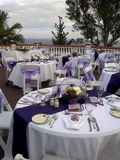 white table clothes with purple runners, large rectangle tables instead of rounds Purple Wedding Tables, Round Wedding Tables, Purple And Silver Wedding, Wedding Table Centres, Purple Table, Wedding Reception Flowers, Wedding Rehearsal, Wedding Table Settings, Reception Table