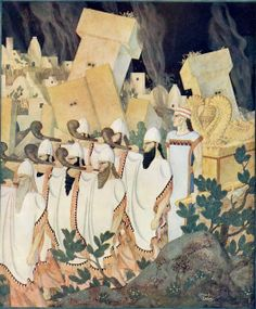 "Edmund Dulac (French, 1882 - 1953)  ""The Fall of Jericho""  (from ""Scenes from Biblical History""), 1926"