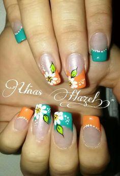 Uñas Hazel Easy Nails, Simple Nails, Elegant Nails, Flower Nails, Manicure And Pedicure, Manicures, Cheetah Print, Nail Designs, Nail Art
