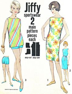 Vintage 1960s Simplicity 4441 Jiffy beach dress, top and shorts are Simple to Make. Beach dress views 1 and 2 and top view 3 are loosely fitted