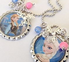 ANNA or ELSA FROZEN NECKLAce FRozen Style Princess necklace with silver snowflake and rhinestone bead.. Bottle Cap Frozen style jewelry.