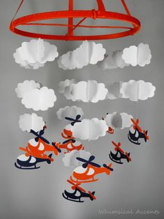 Helicopter and Cloud Baby Paper Nursery Mobile in orange and blue