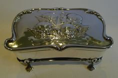 Antique Art Nouveau English Sterling Silver Jewelry Box - Reynold's Angels