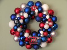 Could use this idea for a 4th of July wreath (minus the NY giants stuff)