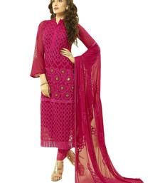 Buy Maroon embroidered chiffon unstitched salwar with dupatta party-wear-salwar-kameez online