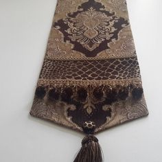 Brown, Gold Damask Chenille Table Runner, Animal Print, Medallion Design - Size 84 in x in by CVDesigns on Etsy
