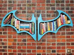 great for an entertainment room or kids room Batman Arkham Asylum Book Shelves B Fahlsing Batman Room, Batman 2, Superhero Room, Batman Arkham Asylum, Batman Bookshelf, Asylum Book, Design Seeds, Kids Bedroom, Bedroom Decor
