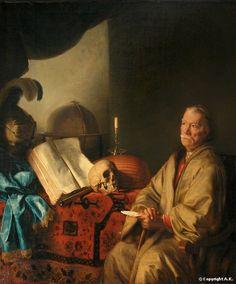 formerly attributed to Ferdinand Bol -- Old Man Meditating; Lesson in Vanity Vanitas, Memento Mori, Ferdinand Bol, Light Art, Oil On Canvas, Artist, Paintings, 17th Century, Dutch