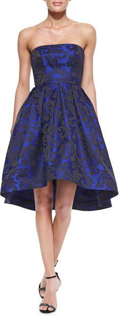 ML Monique Lhuillier Strapless High-Low Cocktail Dress