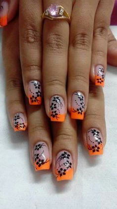 Like these, but would do a white tip instead of orange. Like these, but would do a white tip instead of orange. Green Nail Art, Green Nails, Rose Nails, Flower Nails, Gothic Nails, Nails Only, Luxury Nails, French Tip Nails, Toe Nail Designs