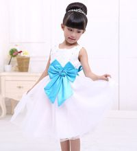 Christmas gifts 2016 Baby Girls Big Bow Birthday Dresses Children's Holiday party dress vestidos para festa curto kids Clothes(China (Mainland))