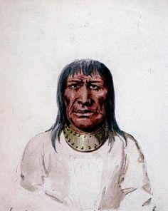 Miskemekin (Collare di Ferro). Era un capo dei Kainah, dipinto a Ft. Pitt nell'Alberta. I Kainah (I Capi) erano meglio noti come Blood (Sangue) e facevano parte della confederazione dei Piedi Neri.