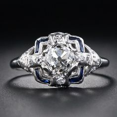 1.08 Carat Cushion-Cut Diamond and Sapphire Engagement  Ring