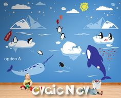 Children Wall Decals - Wall Decals Kid - Arctic and Antarctic Animals and Polar Friends - Penguin, Bear Cubs, Orca Whale, Narwhal - Baby Wall Decals, Vinyl Wall Decals, Wall Stickers, Polar Animals, Star Cloud, Bear Cubs, Kids Room, Children, Kids Fashion