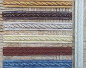 """Ceramic Tile -- Handmade -- 3/4""""x6"""" Cord & Bead Listello Border  Tile -- Made to Order"""