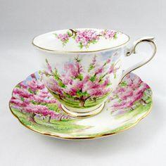 """Royal Albert """"Blossom Time"""" Tea Cup and Saucer, Vintage Teacup, English Bone China"""