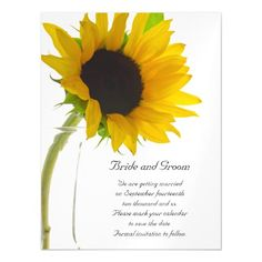Sunflower Wedding Save the Date Cards Yellow Sunflower on White Wedding Save the Date Magnetic Card