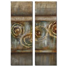 Focus Frameless Stretched Canvas Handpainted by Grace Feyock: 16 x 48 Wall Art, Set of Two