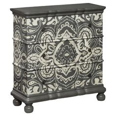 Add a pop of pattern to your master suite or living room with this 3-drawer chest, featuring an eye-catching damask motif. @jossandmain