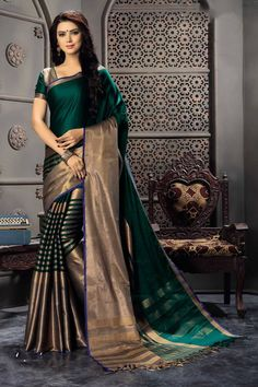 Buy Green woven cotton silk saree with blouse Online
