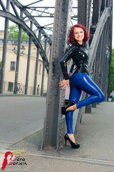 Lara Larsen black latex top blue latex pants