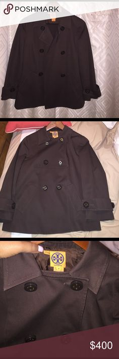 Tory Burch set, jacket size 10 pants 8 NWOT Tory Burch  Size 10 Dark Brown  Coat Jacket Double Breasted  100%cotton Tory Burch Written On All The Buttons With Gold Ring,  Bought and Never Wore, Beautiful Classic Coat. Tory Burch Jackets & Coats Trench Coats