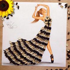 Sunflower seed dress by Edgar Artis Dress Design Sketches, Fashion Design Drawings, Fashion Sketches, Art Sketches, Art Drawings, Arte Fashion, 3d Fashion, Seed Dresses, Fashion Illustration Dresses