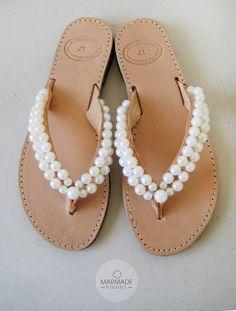 #sandals #pearls Wedding flip flops  Handmade leather flip flops by MyMarmade, €42.00