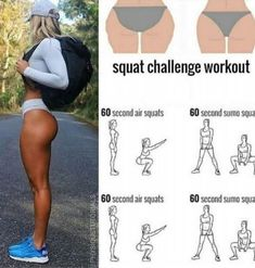 Squat challenge workout to tone your glutes! Fitness Workouts, Fitness Herausforderungen, Summer Body Workouts, Gym Workout Tips, Fitness Workout For Women, Toning Workouts, At Home Workouts, Fitness Motivation, Health Fitness